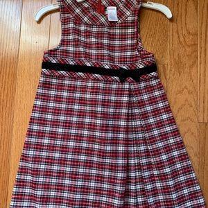 Girls Gymboree plaid dress w/velvet trim